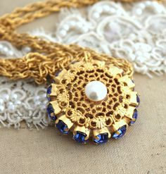 Vintage 14k Yellow #Gold Plated Crystal #Necklace Swarovski Crystal #Pendant