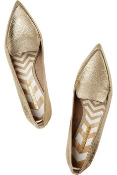 Sculpted gold heel measures approximately 20mm/ 1 inch Gold textured-leather Slip on