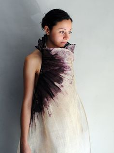 Dress by Aude Tahon: Fragile dress with batik effects