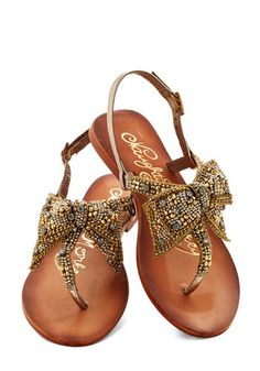 Twinkling Trimmings Sandal in Gold - Flat, Leather, Gold, Solid, Bows, Rhinestones, Luxe, Summer, Better, Slingback, Beads, Daytime Party, V...