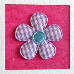 Birthday Card, daughter, girlfriend, for her, wife, mum, friend, sister, lilac gingham flower, dark pink, modern, recycled envelope, cute