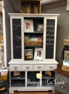 China Hutch With Chalkboard Side Panels