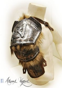 Dwarven fantasy steel shoulder armor with synthetic hair. Viking armor…