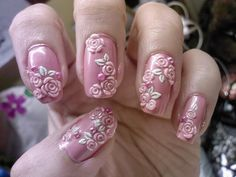 50+ Coolest Wedding Nail Design Ideas  - Planning for wedding and looking for cool wedding nail design ideas?! These wedding nails designs will amaze all guests. These tutorials for you, Start Now! -  awesome-easy-nail-art-with-pink-flower-motif .