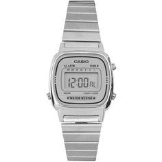 Casio Silver Mini Digital Watch LA670WEA-7EF (2.900 RUB) ❤ liked on Polyvore featuring jewelry, watches, accessories, bracelets, relógios, silver, digital wristwatch, silver watches, silver bracelet watches and silver bracelet