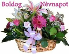 Boldog névnapot kívánok .Bagicsné Ildikó La Multi Ani Gif, Holiday Gif, Name Day, Topiary, Cut Flowers, Flower Arrangements, Diy And Crafts, Happy Birthday, Erika
