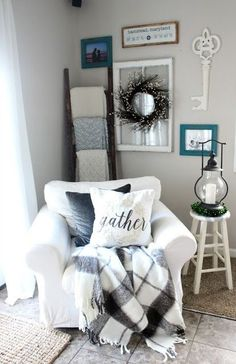 Use a ladder to hang blankets and throws