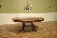 Large 84 inch Round Mahogany Dining Table, Traditional Pedestal Table