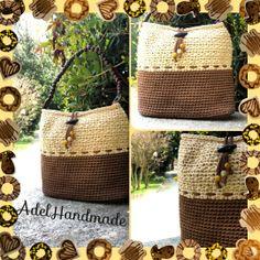 Brown Crocheted bag tshirt yarn di AdelHandmade su Etsy, €25,00