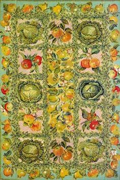 """Cabbage and Apple Carpet at Ehrman Tapestry   86"""" x 58"""" (218cm x 147cm) 7 holes per inch, 17 Sections Sewn Together, Stitched Double"""