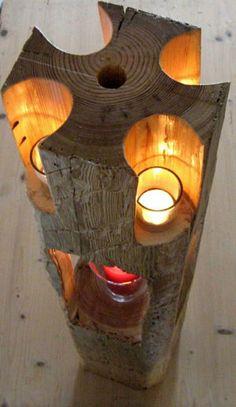 decoration impressionnante avec des bougies en bois