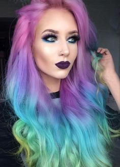 WEBSTA @ amythemermaidx - Used Pastel Goth palette on my eyez 🎨🌈 Lewd lips 💜 Beautiful Hair Color, Cool Hair Color, Pastel Hair, Purple Hair, Pastel Goth, Dress Hairstyles, Pretty Hairstyles, Pelo Multicolor, Half And Half Hair