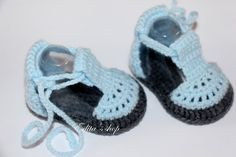 Crochet baby sandals, baby gladiator sandals, baby booties, baby shoes, grey and blue, READY TO SHIP, size 3-6 months
