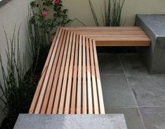 Outdoor Concrete and Wood Bench by DIYer