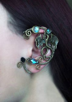 Dragon Ear Cuff Blue Ear Cuff Wire Jewelry Fantasy decoration for ears No Piercing Ear Cuffs Wire Jewelry Wire wrapped ear cuff Jewelry gift - Ohrschmuck - Ear Cuff Piercing, Ear Piercings, Rose Gold Earrings, Circle Earrings, Dragon Ear Cuffs, Ear Cuff Jewelry, Dragon Jewelry, Silver Ear Cuff, Elf Ear Cuff
