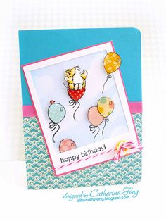 Penny black Bubbly ( mice) and betsy bluebell (balloons) clear stamp set