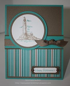 The calm teal and brown colors of this handmade farewell card will definitely send Happy Retirement wishes to your favorite guy.