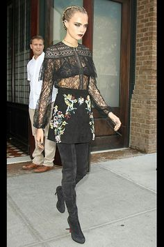 Cara Delevigne in Zuhair Murad and Christian Louboutin