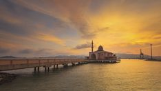 Beautiful Sunset Timelapse of Floating Mosque located at Penang Port, Butterworth, Penang, Malaysia. 4K.