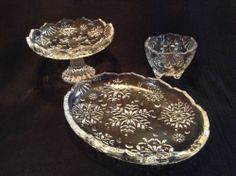 Mikasa Snowflake Pattern Serving Pieces,Compote, Small Platter and Small Bowl