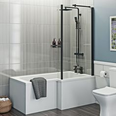 Bathroom With Shower And Bath, Shower Bath Combo, Shower Over Bath, Shower Tub, White Bathroom, Small Bathroom Layout, Very Small Bathroom, Family Bathroom, Bathroom Inspiration