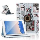For Apple iPad Mini 1 2 3 360 Rotating Smart Stand Case Cover Blue Newspaper USA