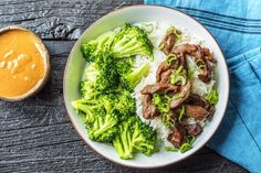 Beef and broccoli over rice is a tried-and-true Asian-style favorite. But to get it just right, you've got to hone in on more than just the beef or the broccoli—really, it's all about the sauce, which can make or break the dish. Luckily, we've got a good one: we're blending creamy peanut butter with garlic and soy, then drizzling it all over to create waves of savory flavor throughout.