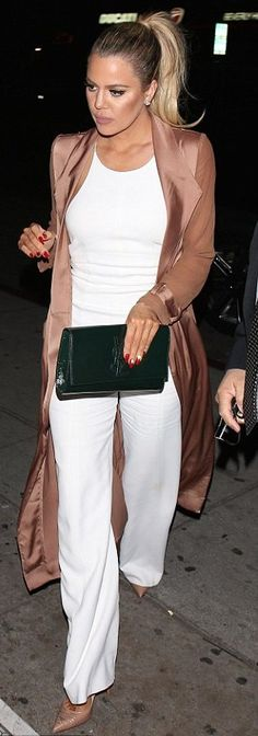 Khloe Kardashian in House of CB paired with a YSL clutch and Christian Louboutin pumps out in Hollywood. #bestdressed