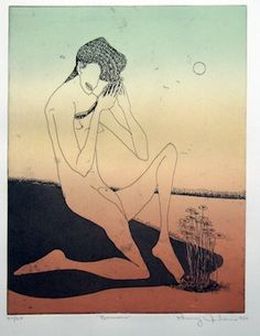 Benny Andrews - Narcissus, 1980 etching.