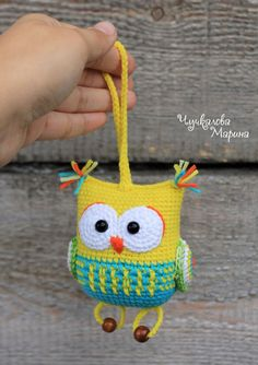The owl rattle toy by Chuchkalova Marina Hello! I present to you the owl rattle toy. This owl has the kinder surprise egg pod inside. The toy has a nice rattling and funny feet))) Owl Crochet Patterns, Crochet Owls, Crochet Amigurumi, Owl Patterns, Crochet Gifts, Amigurumi Patterns, Free Crochet, Crochet Kawaii, Crochet Chicken