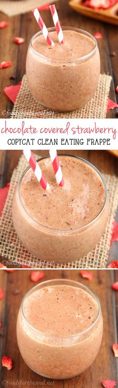Skinny Chocolate Covered Strawberry Frappé -- a clean-eating copycat of McDonald's for a fraction of the cost! Just 110 calories & of protein! Sub milk for coconut milk Smoothies, Smoothie Drinks, Smoothie Recipes, Mocha Smoothie, Juice Recipes, Healthy Baking, Healthy Desserts, Healthy Drinks, Dessert Recipes