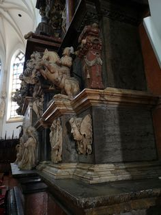 Fragment of Ostrogski tomb monument in the Tarnów Cathedral. The monument was created by Johann Pfister after design by Willem van den Blocke between 1612 and © Marcin Latka Den, Cathedral, Marble, Greek, Statue, Painting, Painting Art, Cathedrals, Granite