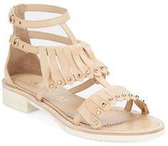 Aperlai Loula Leather Studded Fringe Sandals