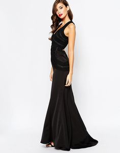 f2ef581ebabb Shop Jarlo Fishtail Maxi Dress with Open Back and Detail at ASOS.