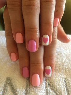 Nails #pink#heart#white#