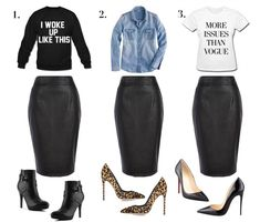 3 Ways To Wear Leather Skirts :)