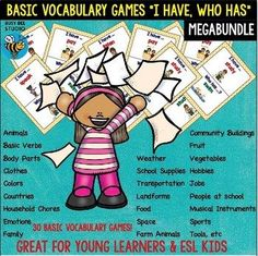 """My ESL students love vocabulary games. These games are fun way to review basic vocabulary.  This mega bundle includes 30 """"I have, who has?"""" sets:   1, In the Classroom 2. Animals 3. Basic Verbs 1 4. Basic Verbs 2 5. Basic Verbs 3 6. Body Parts 7. Bugs 8. Household Chores 9."""