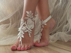 5 pairs bridesmaid gift Beach shoes, bridal sandals,  silver frame lace sandals, wedding bridal, ivory accessories, wedding shoes,