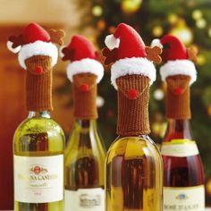 "Reindeer Wine Bottle Hats Give your wine gift the ""deer""est shot of jolly!"