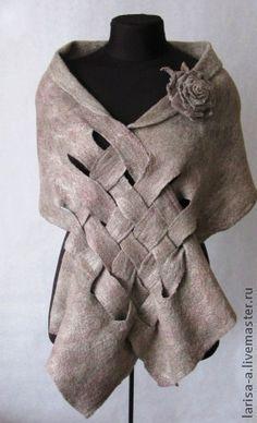 Валяный палантин-накидка. - льняной,аксесуары,шарф,накидка,накидка на плечи