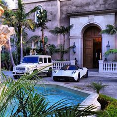 White Mercedes G63 AMG and Pagani Huayra chill out poolside