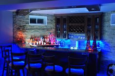 Lighted Bottle Display with LED Cabinet Lighting