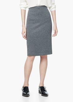 Herringbone pencil skirt - Skirts for Women | MANGO