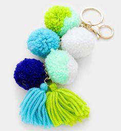 NEW Multicolor Mint Rainbow Pom Pom Tassel Gold Clasp Keychain #Unbranded