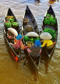 Floating market for fresh vegetables on boats   #world #culture