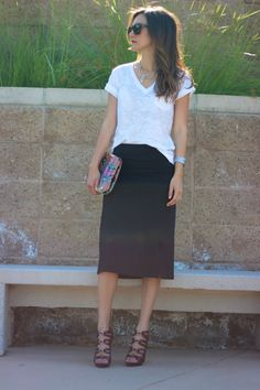 Easy tee and skirt combo.