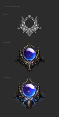 The task of this project is 'Designing game UI that players can feel like they are involve with Medieval fantasy.'I found Gothic architecture, and Art Nouveau as my design inspiration. Despite these two art forms are different, Both arts styles containi… Fantasy Weapons, Fantasy Rpg, Game Ui Design, Icon Design, Bottle Drawing, Weapon Concept Art, Game Icon, Environment Concept Art, Elements Of Art
