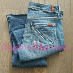 7 For All Mankind Flynt Crystal Pocket Jeans HOT and sexy jeans. Great shade of blue. Blue and silver crystal detail on the pockets. 95% cotton 5% polyurethane. Jeans are in really good condition. Size 28 7 for all Mankind Pants Straight Leg