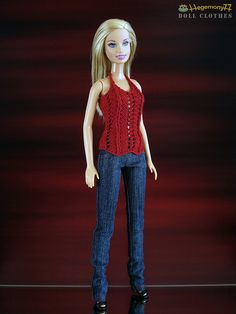 Barbie doll in jeans pants with real pockets and hand knitted top