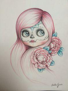 Diseño de Tattoo blythe catrina www.musaenfuga.blogspot.com